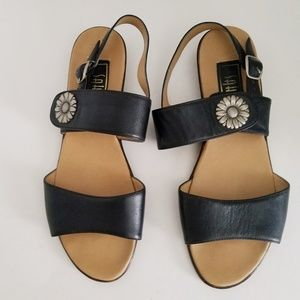Sahara Leather Sandals - Black Size 8